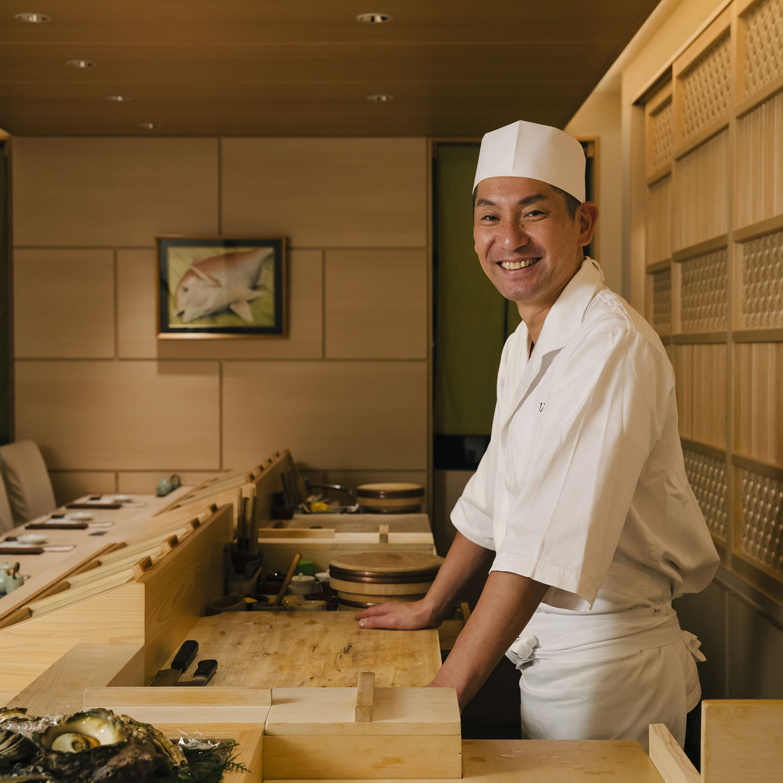 Beautiful sushi bar where the customers' needs come first